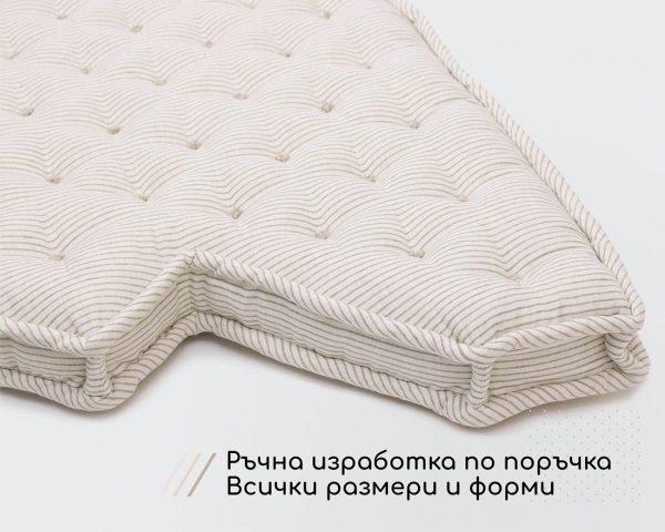 Home of Wool Вълнена възглавница за пейка с копчета (8 см) - индивидуални размери по поръчка