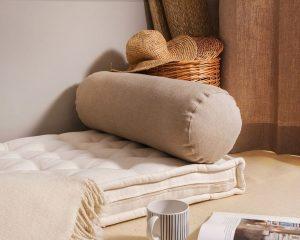 wool-filled bolster pillow