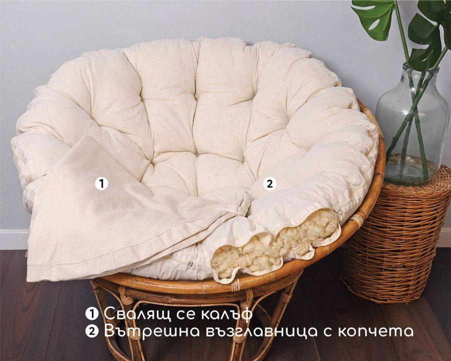Home of Wool възглавница за стол Папасан- детайли