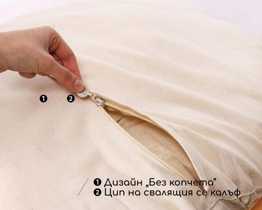 Home of Wool възглавница за стол Папасан- детайл на ципа