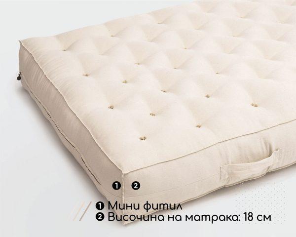 Home of Wool сертифициран органичен вълнен матрак 18 см